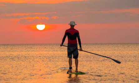 Sunset Standup paddleboarding at Tanjung Aru Beach