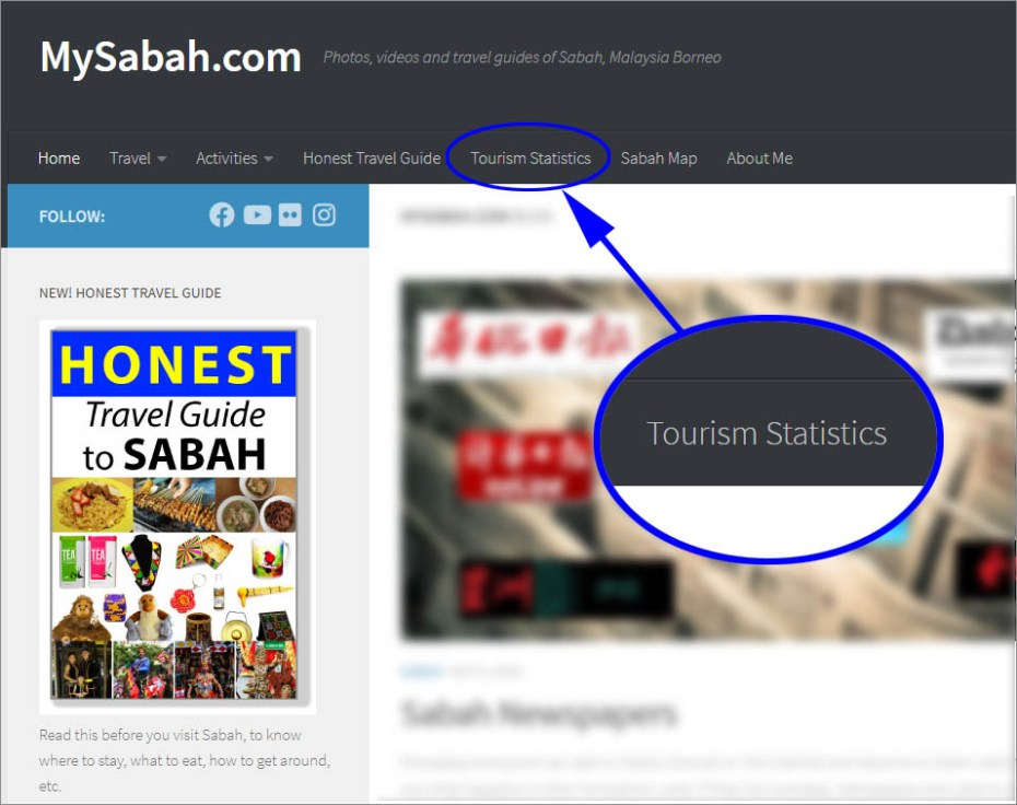 Location of tourism statistics in top menu