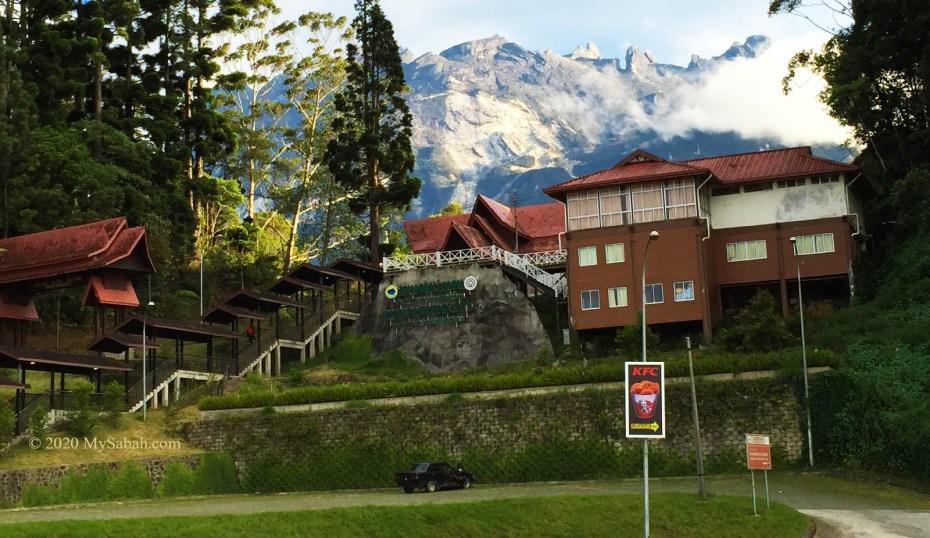 Entrance and parking area of Kinabalu National Park