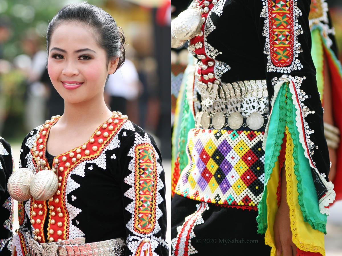 Close up of Dusun Tindal girl dress