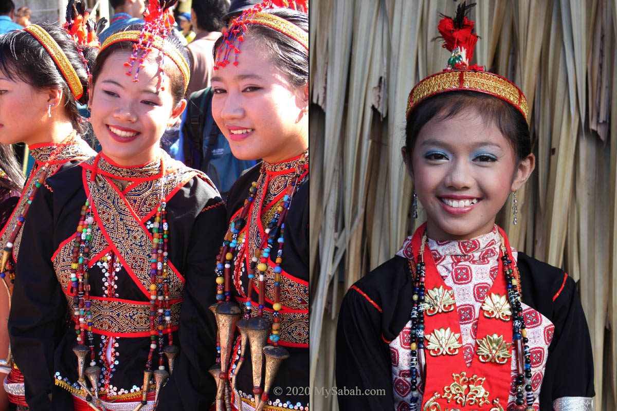 Dusun Lotud girls in ceremonial attire