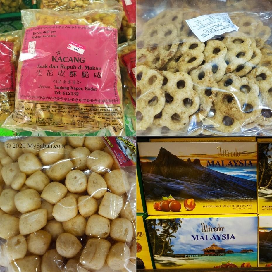 Crispy peanuts, kuih cincin, Amplang cracker and Sabah chocolate