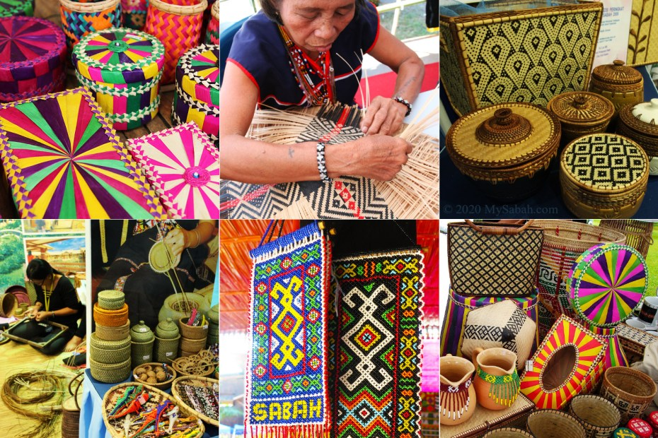 Variety of handicraft created by Dusun, Bajau, Rungus and Murut people of Sabah