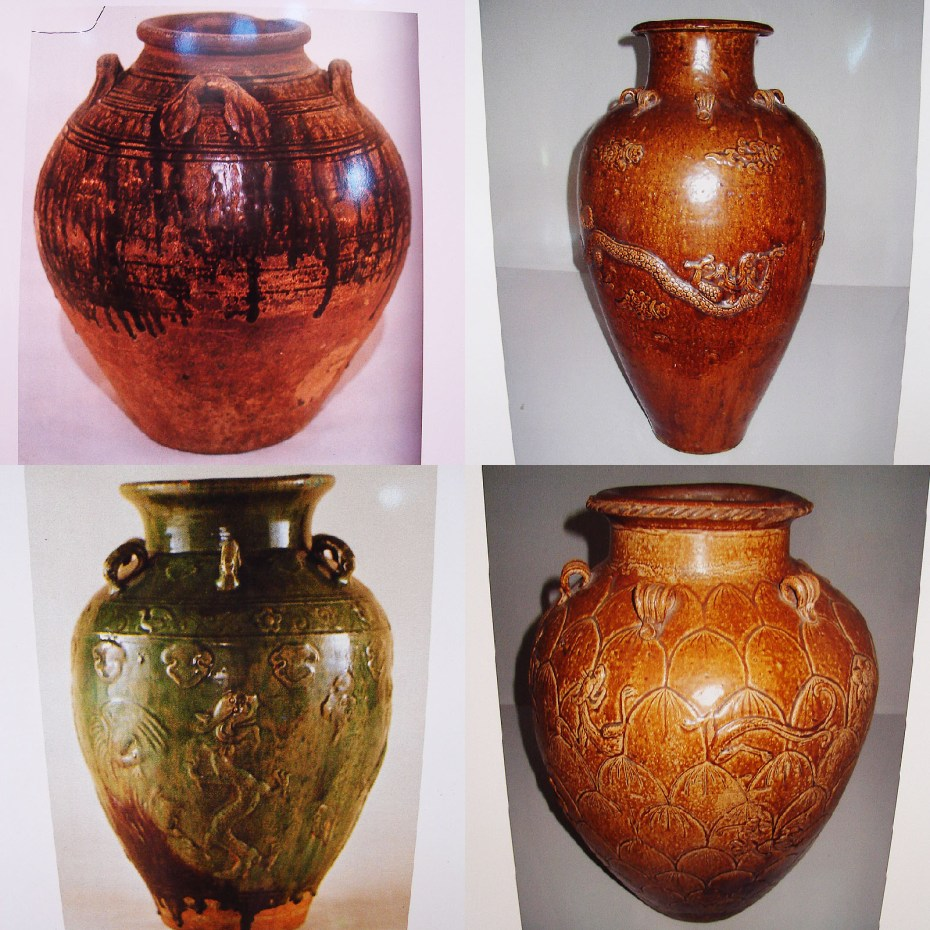 Antique Tapai jars from different districts. From top to bottom, left to right: kologiau from Ranau, sampa from Keningau, rangkang from Kota Belud, sisikan from Ranau