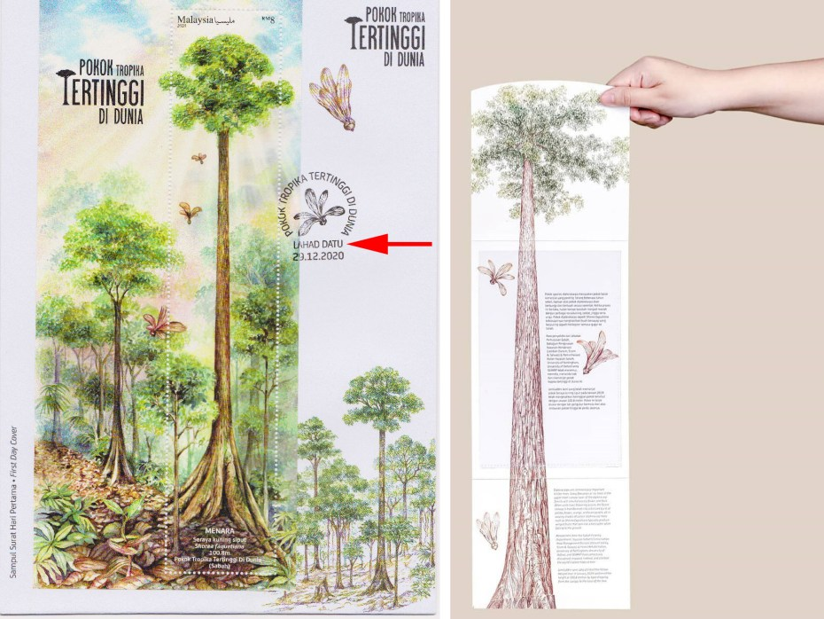 Left: miniature sheet of Menara is the largest stamp of Malaysia. Right: the long stamp folder for the World's tallest tropical tree