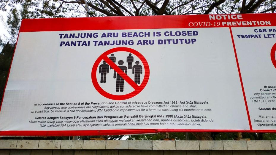 Tanjung Aru Beach is closed due to COVID-19 pandemic