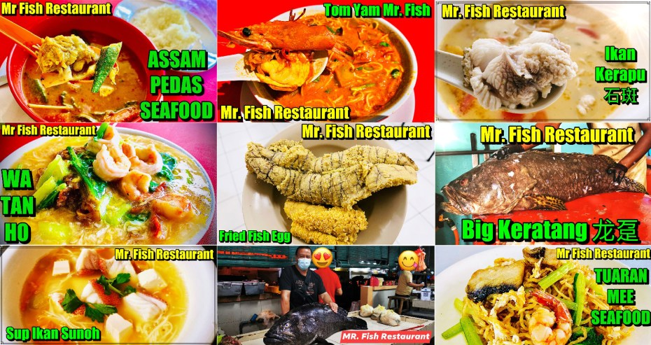 Seafood dishes of Mr. Fish Restaurant