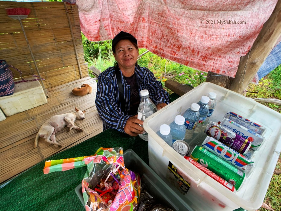 Friendly hawker and her sleeping dogs
