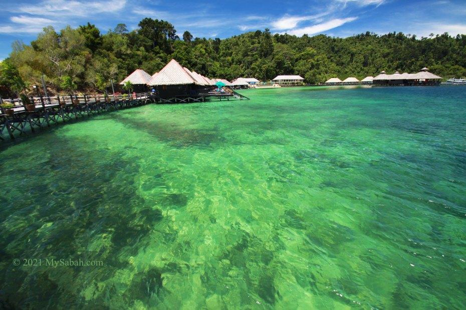 Water bungalows of Gayana Marine Resort on Gaya Island