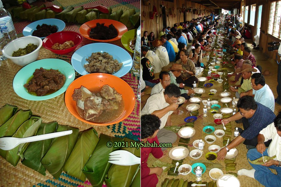 The longest Nuba Tingaa (Nasi Bungkus) line (308.95 Metres) in Malaysia Book of Records, created by Lundayeh people in Sabah.