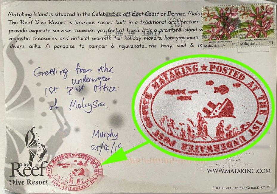 Postcard from underwater post box of Mataking Island