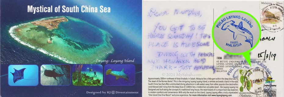 Front and back of waterproof postcard from Layang-Layang underwater post box