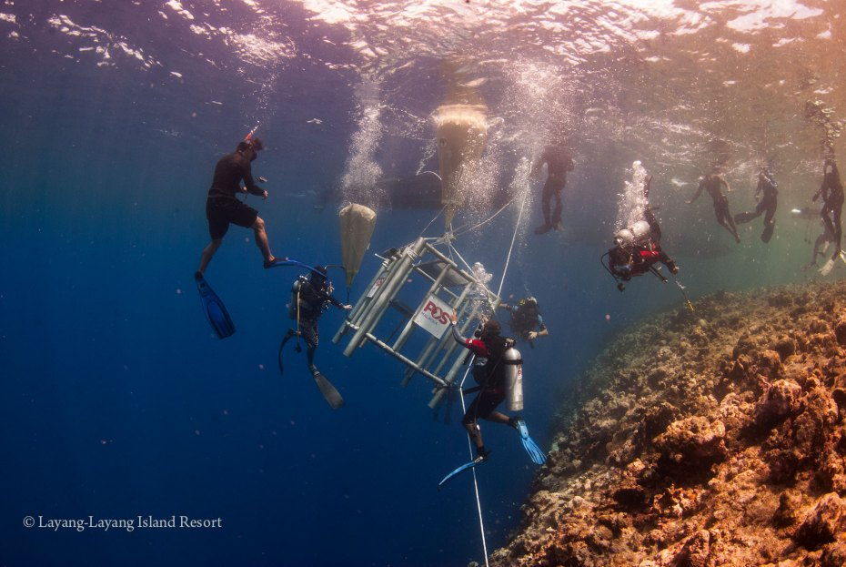 Divers installing the underwater post box for Layang-Layang