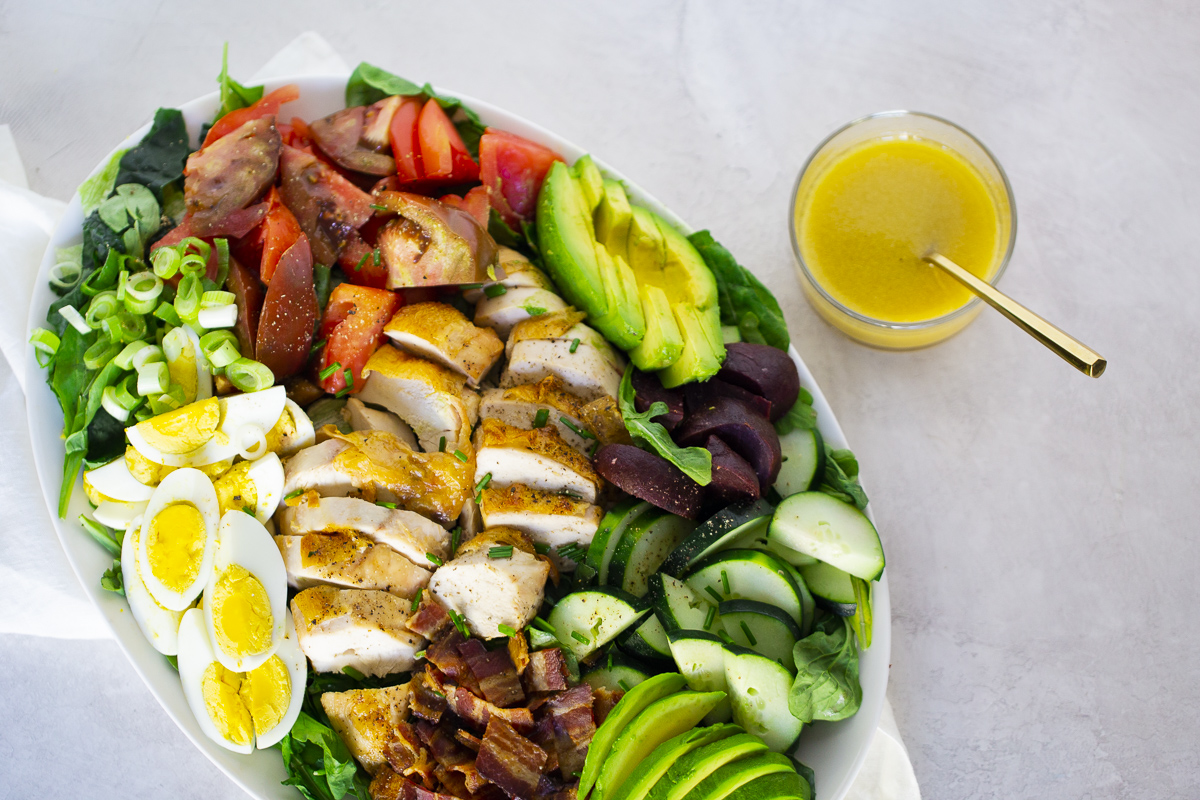 cobb salad on a platter