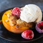 shortcut peach crisp w raspberries and vegan vanilla ice cream