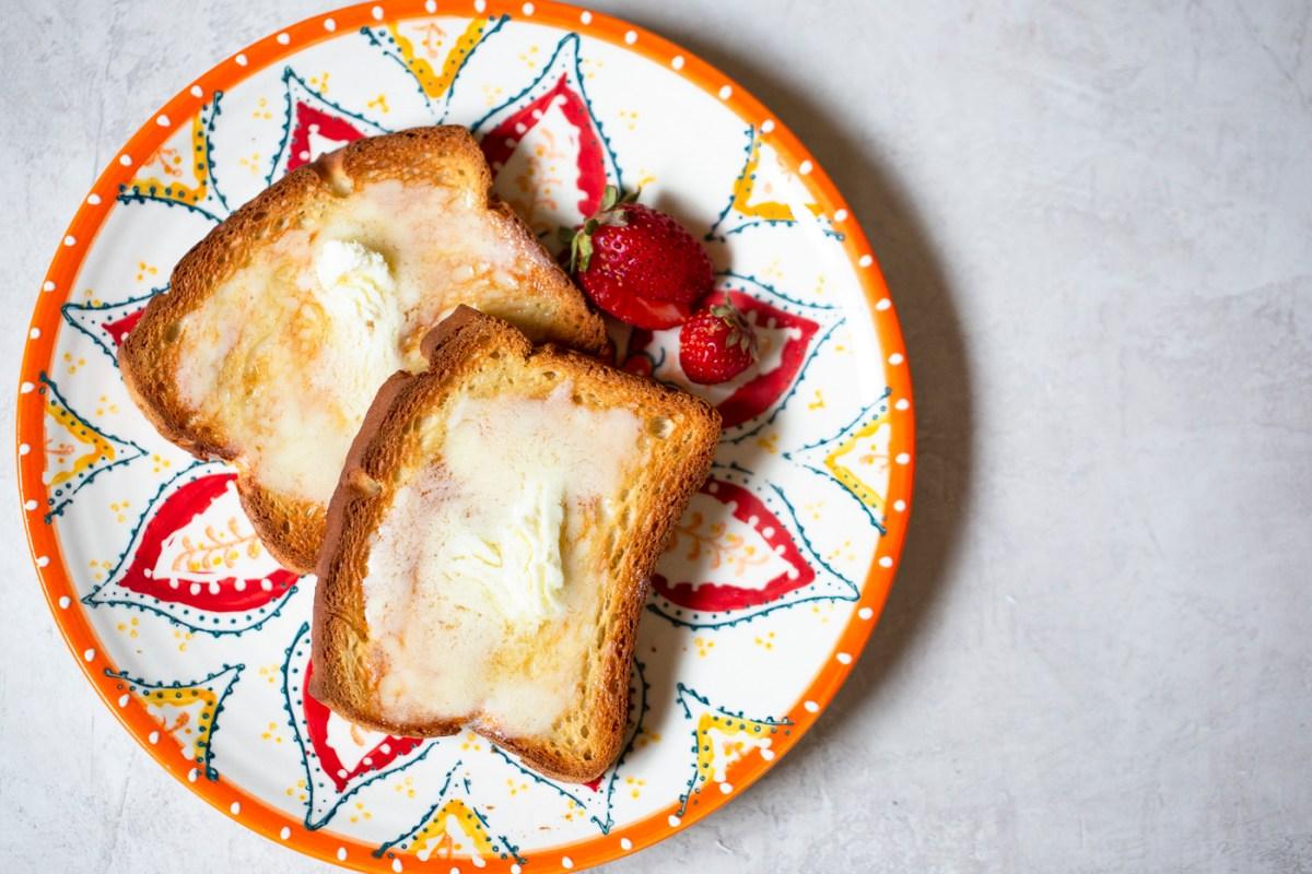 prepared vegan butter spread on toast