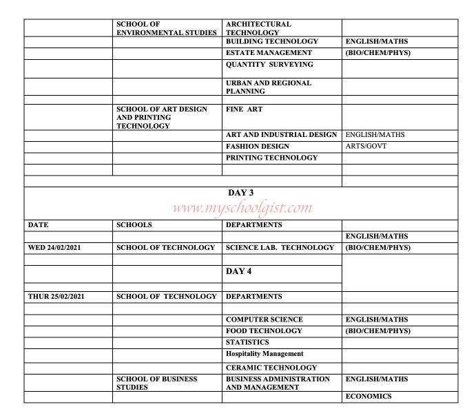 IMT Post UTME Screening Schedule