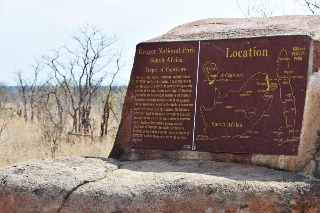 Tropico del capricorno all'interno del Kruger