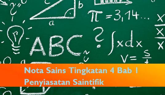 Nota Sains Tingkatan 4 Bab 1 Penyiasatan Saintifik