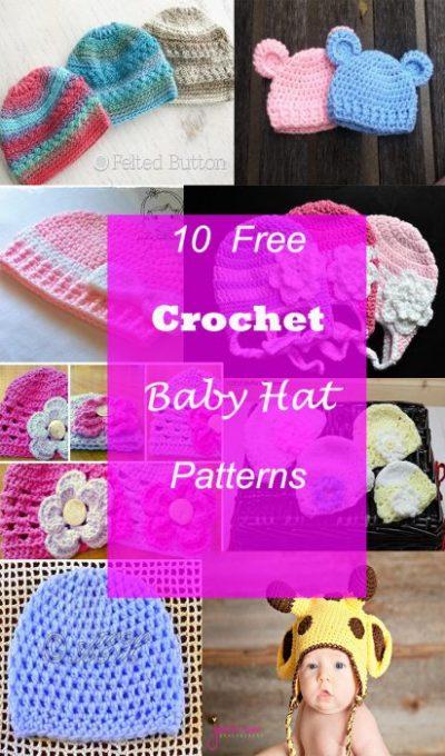 10 CROCHET BABY HAT FREE PATTERNS