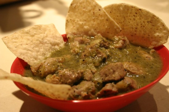 Bowl of homemade Chile Verde
