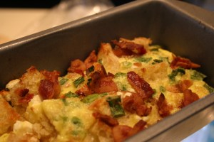 breakfast casserole with feta after baking