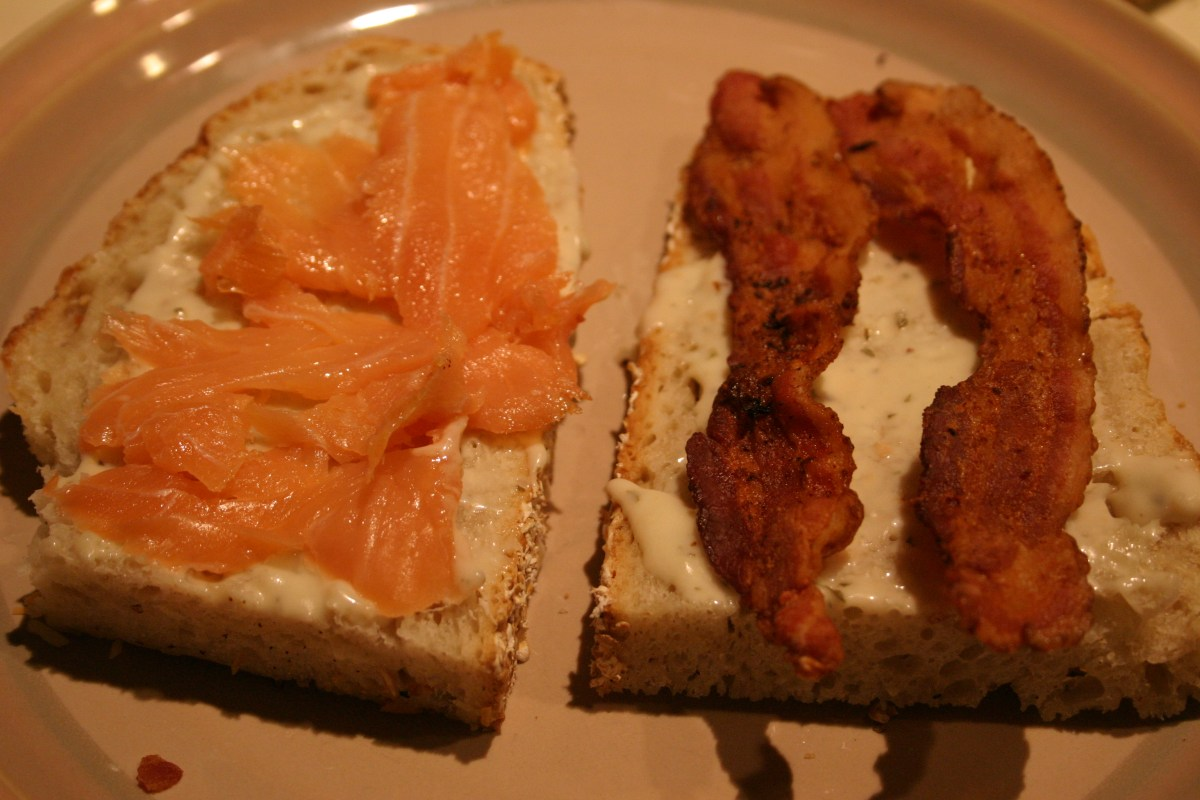 bacon and smoked salmon on a sandwich