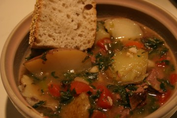 Pot Roast Soup with French bread