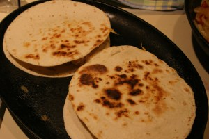 quesadillas browning on the skillet