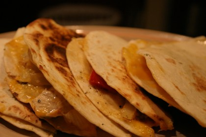 stack of chicken and pepper quesadillas