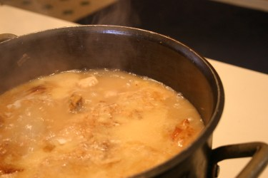 turkey stock simmering