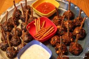 platter of homemade meatballs and dips