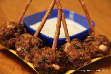 spicy meatballs to dip in tzatziki sauce
