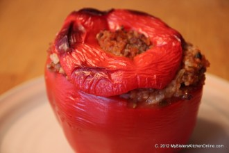 Stuffed Red Bell Pepper ready to serve