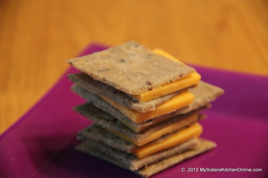Crispy Gluten-Free Homemade Rice Crackers with cheese