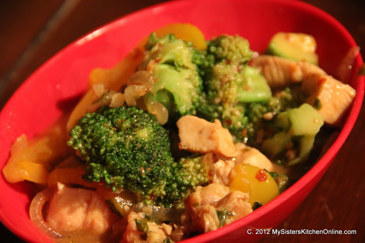 Peppers, zucchini, and onions add to this Spicy Broccoli Stir-fry