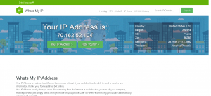 Screenshot showing the WhatsMyIP website w/my IP address