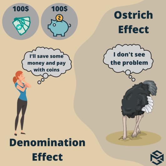 Cognitive biases: Ostrich effect Denomination Effect