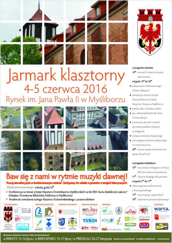 Plakt informujący o Jarmarku Klasztornym