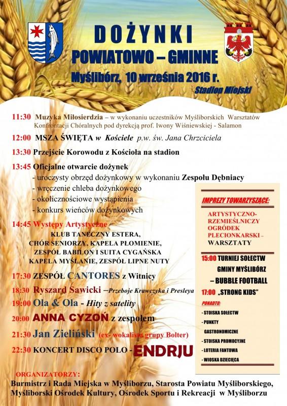 Plakat z programem dożynek powiatowo-gminnych w Myśliborzu
