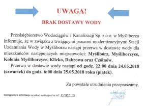 UWAGA – w nocy z czwartku na piątek przerwa w dostawie wody!