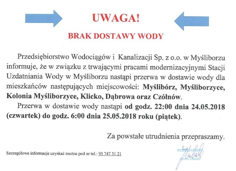 UWAGA! Brak dostawy wody od godziny 22 dnia 24 maja do 6 rano 25 maja 2018