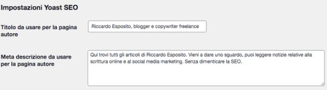 Modify the meta description of author pages