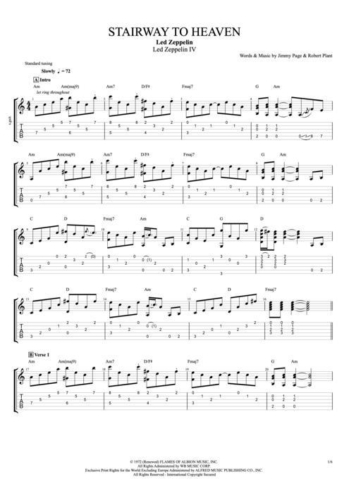 Outstanding Stairway To Heaven Acoustic Guitar Chords Pattern ...