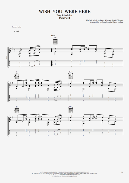 Wish You Were Here By Pink Floyd Easy Solo Guitar Guitar Pro Tab