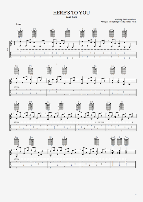 Heres To You By Joan Baez Easy Solo Guitar Guitar Pro Tab