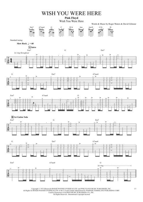 Wish You Were Here By Pink Floyd Full Score Guitar Pro Tab