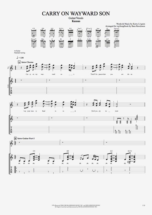 Carry On Wayward Son By Kansas GuitarVocals Guitar Pro Tab