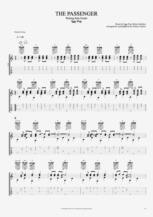 The Passenger By Iggy Pop Picking Solo Guitar Guitar Pro Tab