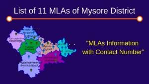 List of 11 MLAs of Mysore District